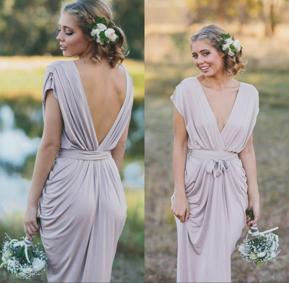 Country Style Sexy Deep V Neck Boho Bridemaid Dresses Backless Formal Wedding Guest Dress Maid Of Honor Gowns