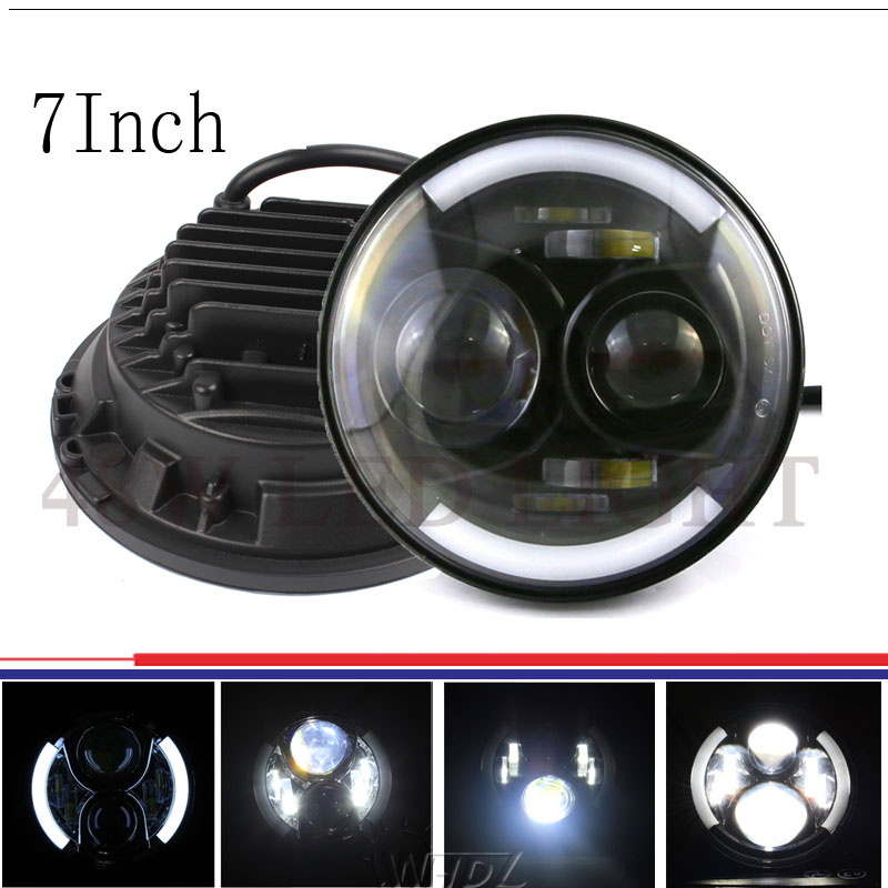 48w 7 Inch LED Headlight Bulbs with DRL for Jeep JK Wrangler Offroad Harley Motorcycles