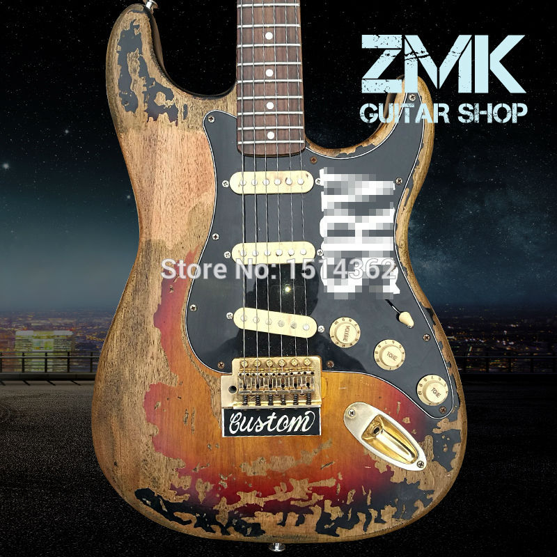 New Style high quality handmade RELIC ST electric guitar,Alder wood body and Rosewood fingerboard SRV ST guitar,Free shipping  недорого