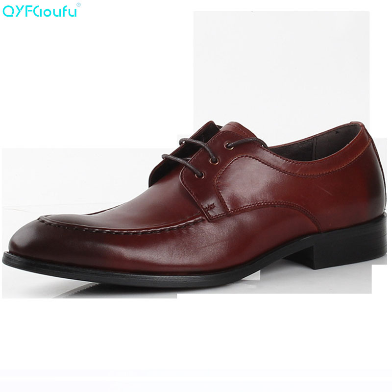 QYFCIOUFU New Mens Genuine Leather Dress Shoes Black Oxfords Round Toe Lace Up Wedding Shoes High Quality Business Work ShoesQYFCIOUFU New Mens Genuine Leather Dress Shoes Black Oxfords Round Toe Lace Up Wedding Shoes High Quality Business Work Shoes