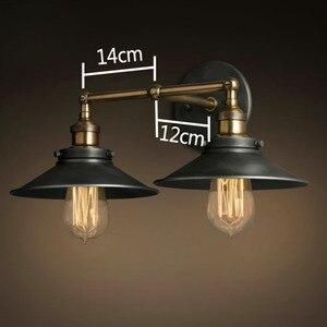 Image 5 - 現代ヴィンテージロフト金属ダブルヘッドウォールライトレトロ真鍮壁ランプカントリースタイル E27 エジソン燭台ランプ器具 110 ボルト/220 ボルト
