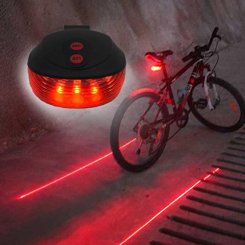 2 Laser 5 LED 7 Flashing Modes Lamp Laser Tail Light Rear Cycling Bike Bicycle