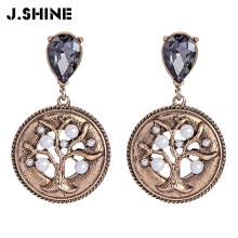 JShine Antique Gold Trendy Statement Earrings Retro Tree Drop with Simulated Pearl Crystal Earings Fashion Jewelry
