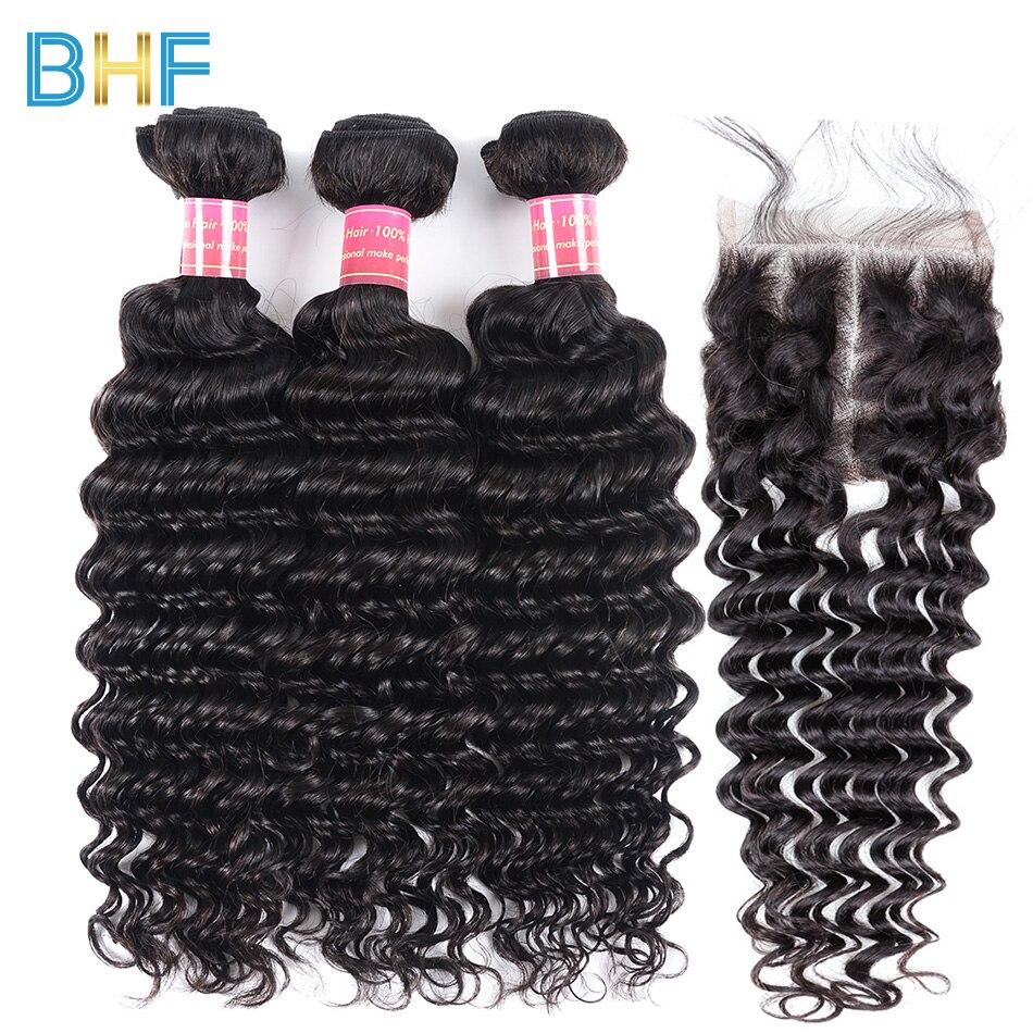 BHF Deep Curly Weave Natural Color Human Hair With Closure 3 Bundles Brazilian Virgin Hair Deep Wave Bundles With Lace Closure