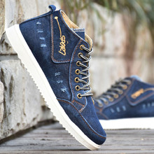 Quality High Top Canvas Shoes for Men New 2019 Breathable Casual Denim Man Skate Shoe Rubber Sole zapatos hombres