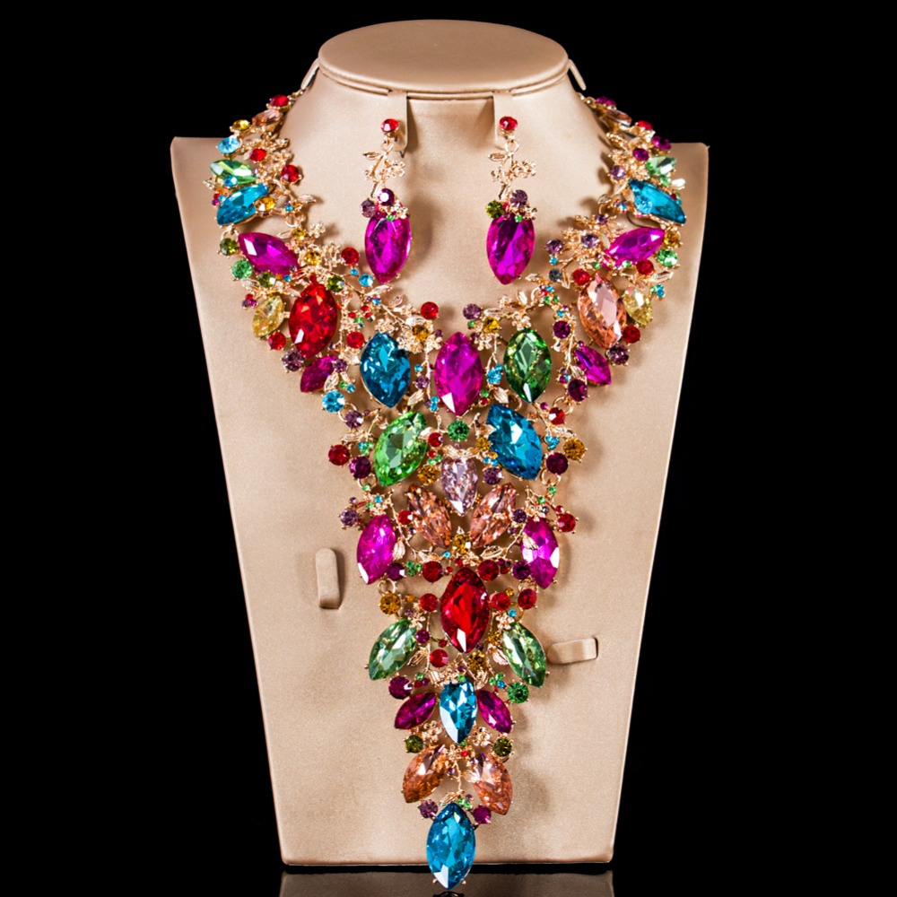 2018 new Lan palace luxury big Glass bridal big jewelry set gold color necklace and earrings
