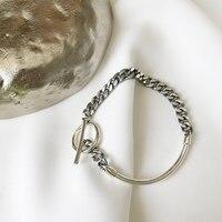 A half chain take buckle bracelets 925 sterling silver trendy fashion design wild women silver bracelets 2019 charms jewelry