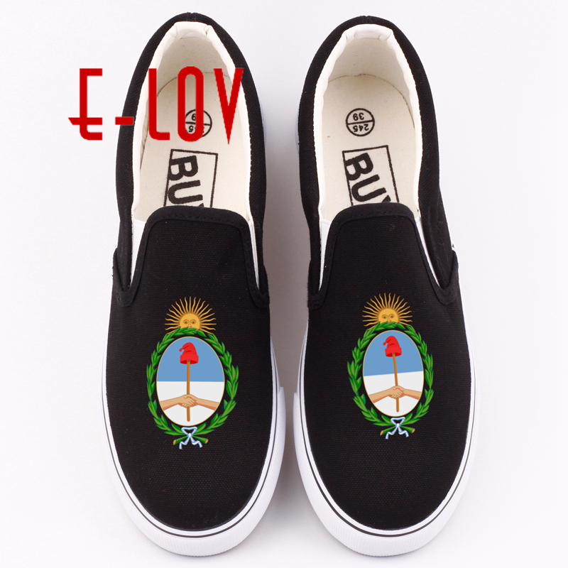 E-LOV Fashion Argentina Canvas Shoes Custom Printing Argentine National Emblem Casual Loafers Argentineans Shoe e lov women casual walking shoes graffiti aries horoscope canvas shoe low top flat oxford shoes for couples lovers