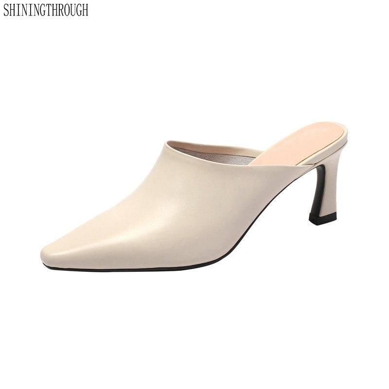 006ad0dcb95dd3 Cuir Talons Femmes Mules Chaussons Bout Grande Pour En Air 43 Beige  D'automne Véritable Plein Pointu Party Taille Chaussures ...