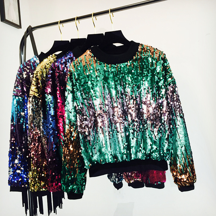 Aliexpress.com: Comprar Color lentejuelas sudaderas mujer