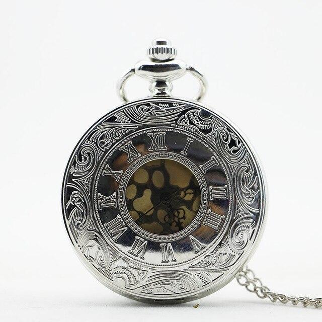 Vintage White Steel Roma Number Carved Steampunk Pocket Watch Quartz Necklace Pocket & Fob Watches Chain Men Women Clock