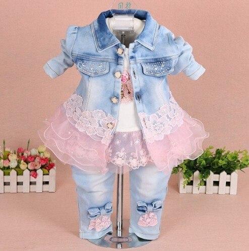 Neue 2017 Mädchen Kleidung Set 3pcs Kinder Mädchen Denim Set Baby - Babykleidung - Foto 6