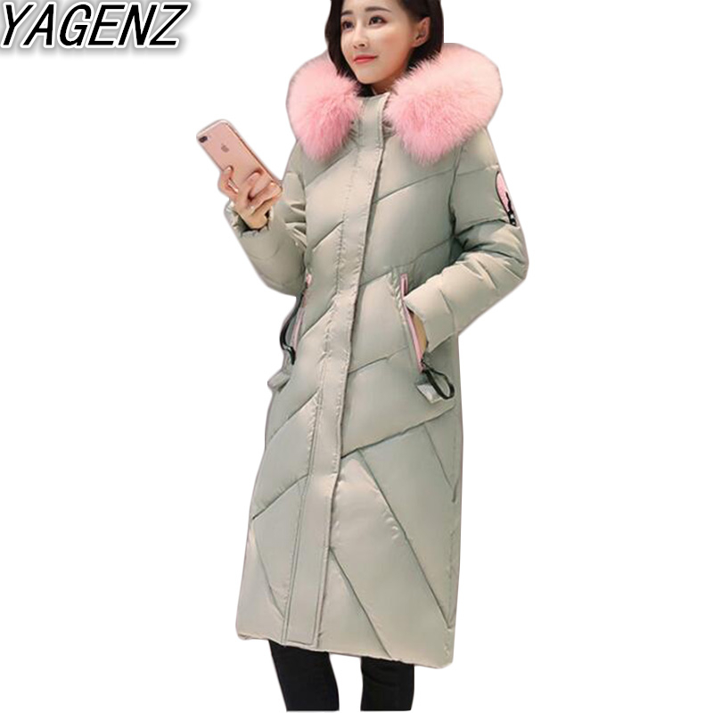 YAGENZ Winter Women's Pink Big fur collar Cotton Jacket 2017 New Slim Warm Hooded Cotton Coat Female Long Cotton Padded Overcoat yagenz 2017 down cotton winter parkas women jacket coats fashion slim big fur collar overcoat warm jacket female student coat