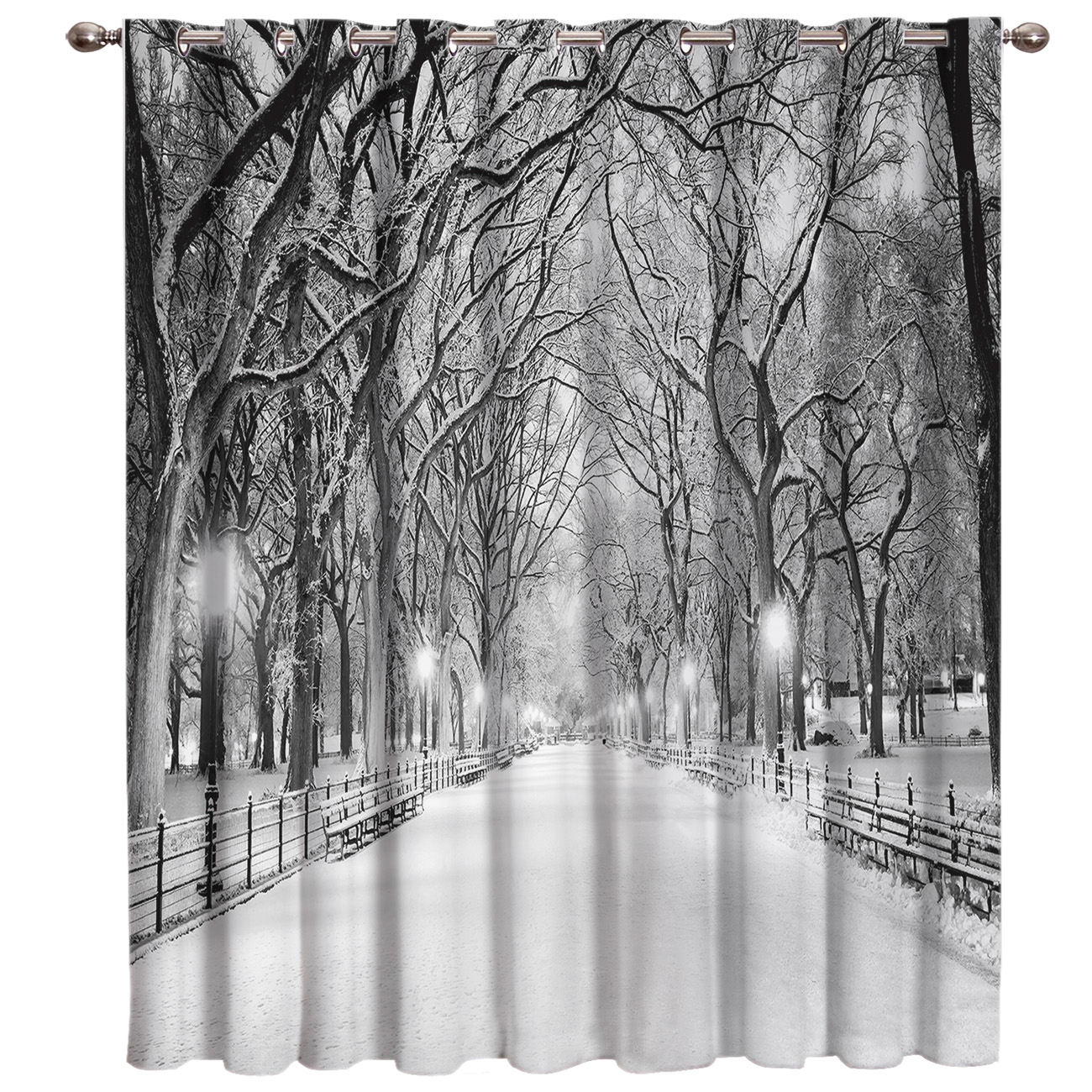 Winter Snow Season Street Room Curtains Large Window Window Curtains Dark Living Room Outdoor Fabric Indoor Curtain Panels With