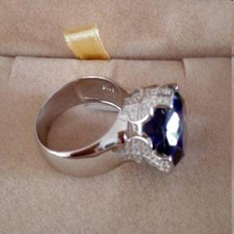 Qi Xuan_Fashion bijoux _big Blue Stones élégant croix femme Rings_S925 solide argent mode Rings_Factory directement ventes - 6