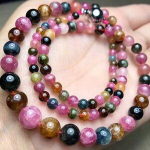 Image 2 - JoursNeige collar de piedra de turmalina Natural, cadena de cuentas redondas, collar de cristal de la torre, regalo de la suerte para mujeres y niñas, joyería Popular
