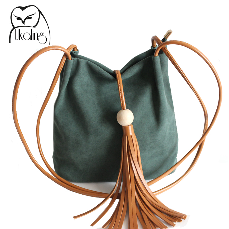 UKQLING Women Bucket Bag Casual Crossbody Bag For Women Purse Ladies Shoulder Handbag with Tassel Sac