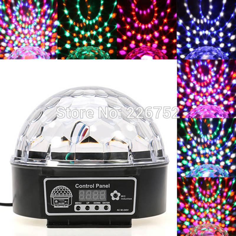 New 18W RGB LED 6CH Crystal Magic Ball Effect Light Disco DJ LED Laser Stage Lighting DMX EU/US/UK Plug lumiere rgb led stage effect lighting 30w auto sound magic ball disco lighting shower laser projector party dj club magic lamp