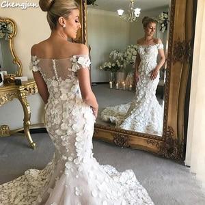 Image 3 - Chengjun Marfim Flor Muito Bonita Da Sereia Fora Do Ombro Do Vestido de Casamento de Luxo