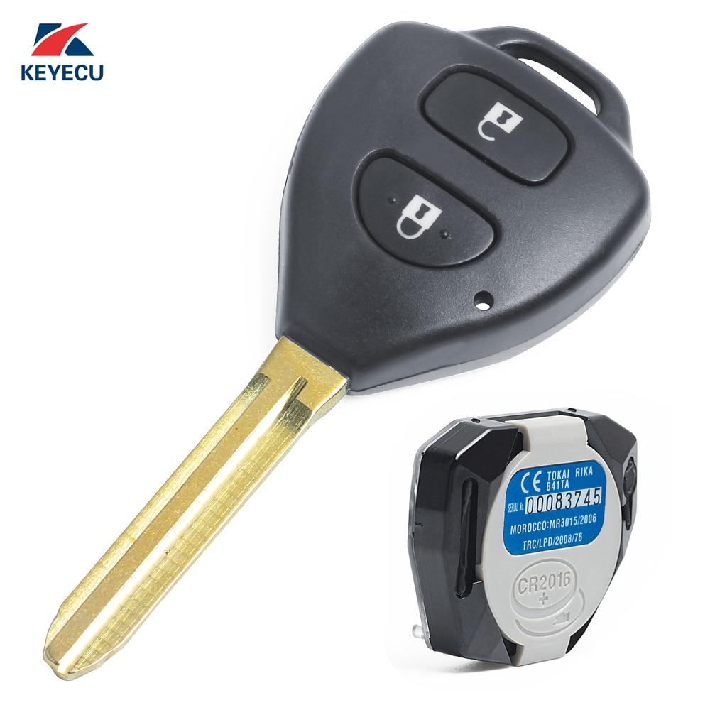 KEYECU véritable remplacement télécommande voiture clé Fob 2 bouton 433 MHz 4D67 pour Toyota Hilux 2004-2009, Yaris 2005-2011, P/N: B41TA