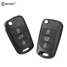 KEYYOU New 3 Buttons Flip Remote Key Shell For Hyundai I30 IX35 Kia K2 K5 Folding Remote Key Case(China)