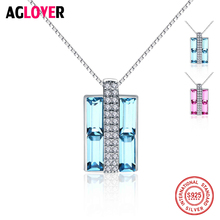 925 Sterling Silver Gift Brand Charm Women Austrian Crystal Square Pendant Necklace Fashion Jewelry Accessories цена