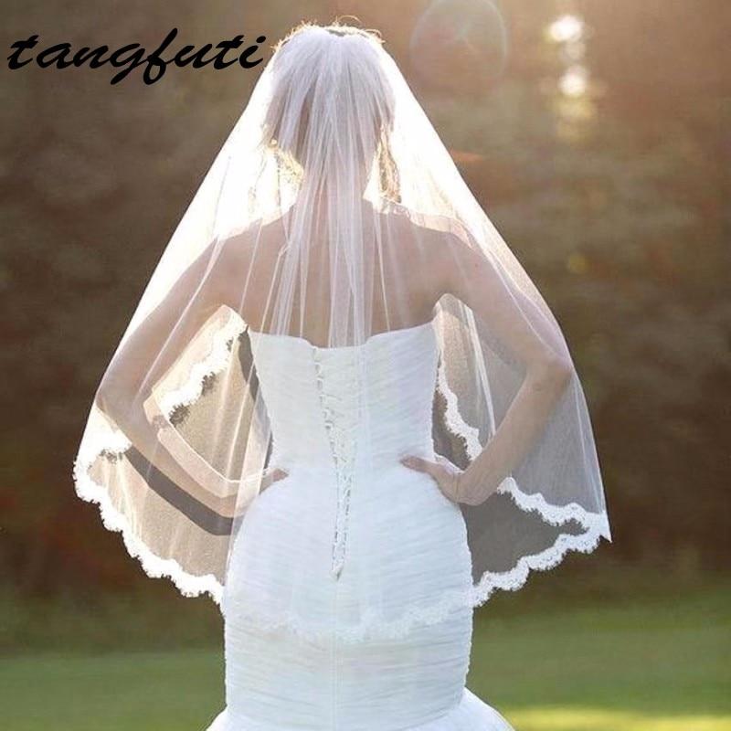 Romantisk vit elfenben Korta bröllopslingor med kam Bridal Veil Veu - Bröllopstillbehör - Foto 1