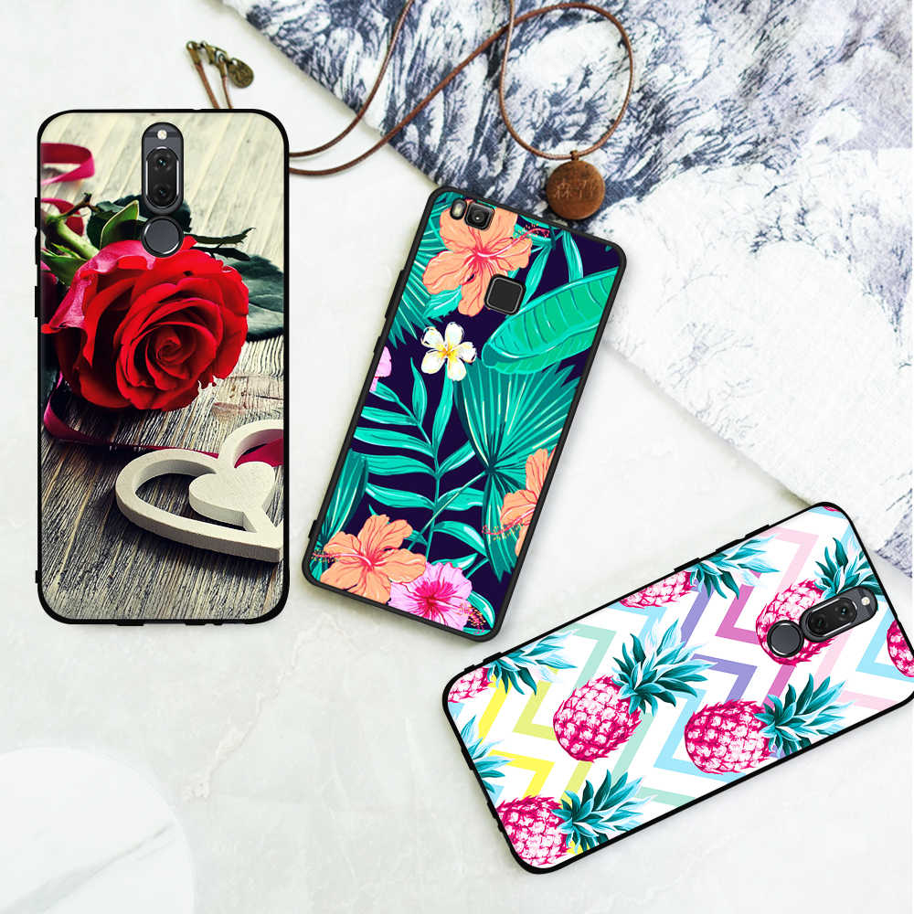 Black Matte Phone Case For Huawei Mate 10 Lite P20 Pro P10 P8 P9 Lite 2017 Y9 2018 Enjoy 8 Plus For Honor 9 8 Lite TPU Pattern