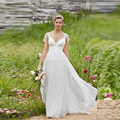 Cheap Chiffon A-Line Wedding Dresses Beading Cap Sleeves V-Neck Summer Beach Bridal Gowns Simple Backless Spring Wedding Dress