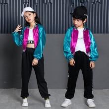 New Korean Style Long Sleeve Hip hop Dance Clothes for Kids Boys Girls Children Jazz Hip Hop Pop Suit Street Dance wear Costumes