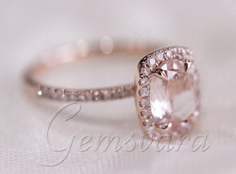 Bien connu vs 7x9mm anneau morganite 14k diamant or rose de mariage bague de  UT91