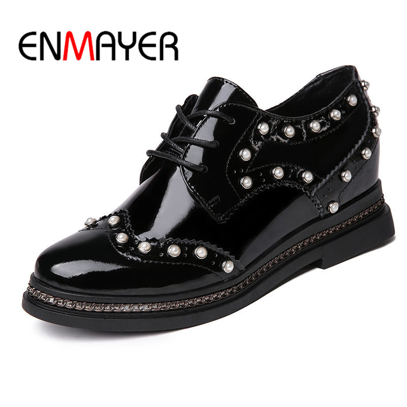 ENMAYER Med Heels Round Toe Shoes Woman Lace-up Adult Shoes in Women's Spring&Autumn Casual Shoes Size 35-39 Solid Shallow enmayer solid shallow lace up shoes woman high heels round toe casual shoes adults in women plus size 34 43 spring