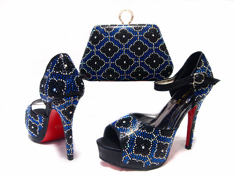 Fashion crystal clutch bag/shoes and matching clutch bag African shoes and purse for Evening party new fashion african shoes and matching bag sets for wedding