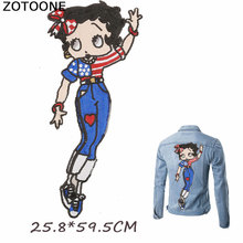 ZOTOONE Large Lovely Bow Girl Big Patches Iron on Stickers for Clothes Applique Clothing DIY Sequin Patch Sew Badges E