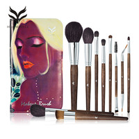 HUAMIANLI Brand Wool Makeup Brushes Set Professional Solid Fiber Face Eye Lip Foundation Powder Make Up