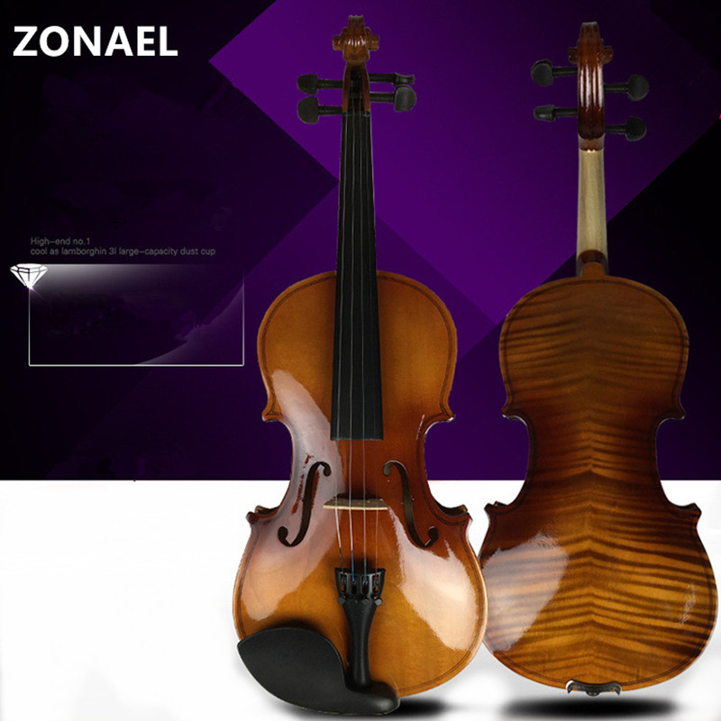 ZONAEL New 4/4 3/4 1/2 1/4 1/8 Beginner Violin Antique Maple Violin Full Violino 3/4 Handmade Musical Instrument & Case Bow image