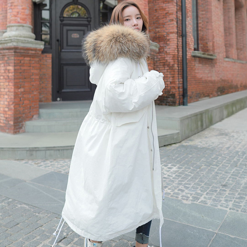 New 2019 Winter Jacket Women Big Real Raccoon Fur Hooded Thick White Duck   Down   Jacket Long Parka Female Loose Jacket Warm   Coat