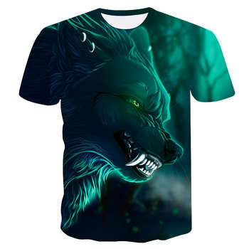 Novelty 3D men wolf t-shirt Cool wolf Printed t shirts summer 3D Short Sleeve Glow in the Dark T-shirts good quality 3