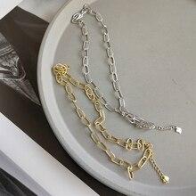 LouLeur collar de cadena de Plata de Ley 925 crudo para mujer, gargantilla de viento Industrial, collar simple salvaje, joyería de festival