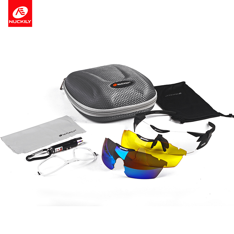 NUCKILY Sport Eyewear Photochromic Polarized Cycling Glasses Night Vision Road and Mountain Bike Glasses With Myopia