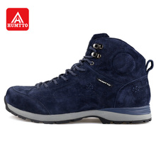 HUMTTO Hiking Shoes Men Winter Outdoor Plush Trekking Boots Plus Velvet High Sports Shoes Leather Lace-up Climbing Sneakers
