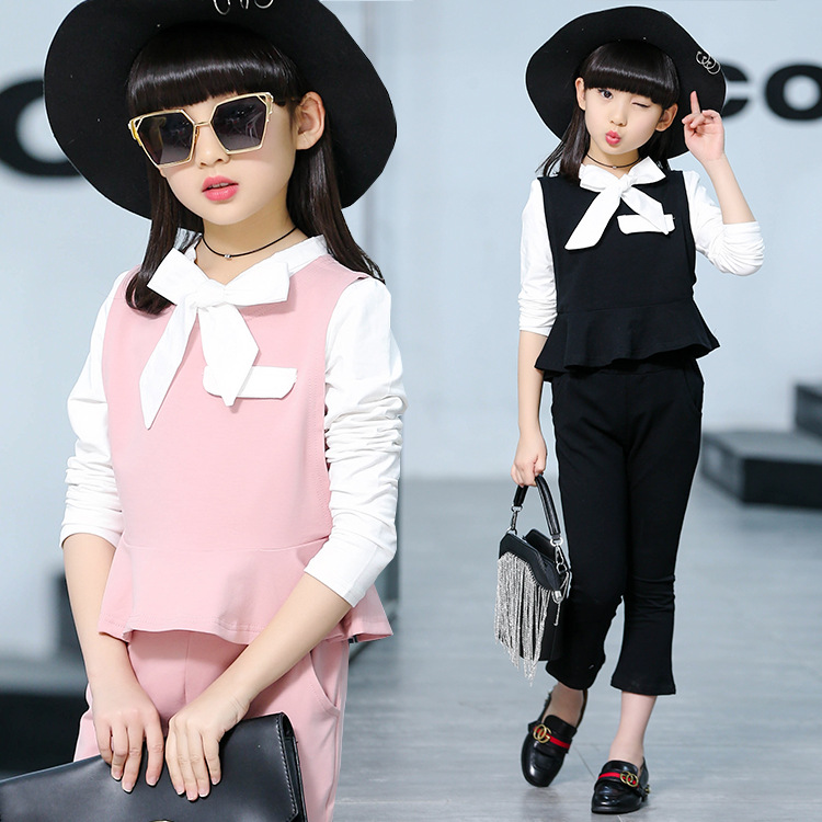 Elegant Girls Clothing Set 3 Pieces Long Sleeve Blouse+Vest+Pants Princess Teenage Girls Suits Size 6 8 10 12 14 baby boy clothes suits vest plaid shirt pants 3pcs set party formal gentleman wedding long sleeve kid clothing set free shipping