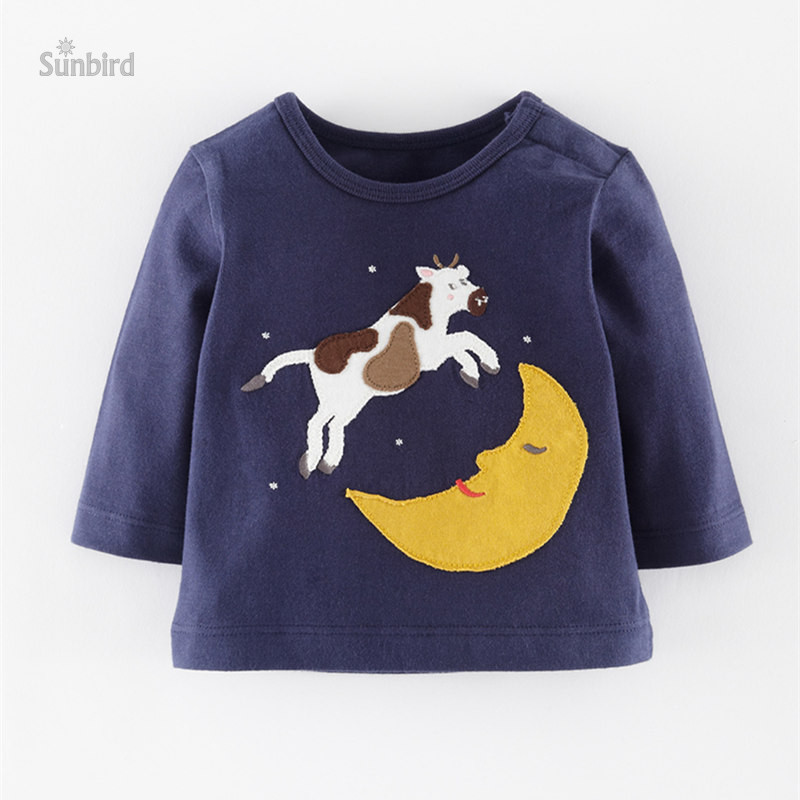 BJT487, 6pcs/lot, cow, Children boys T Shirt, long sleeve Tee Top for 1-6T, 100% Cotton