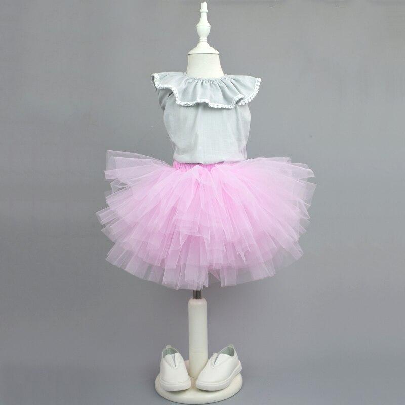 2017 New kids girls tutu skirt Super fluffy petticoat pettiskirt 6 layer tulle princess ballet dancing party costume 3-9 Ys