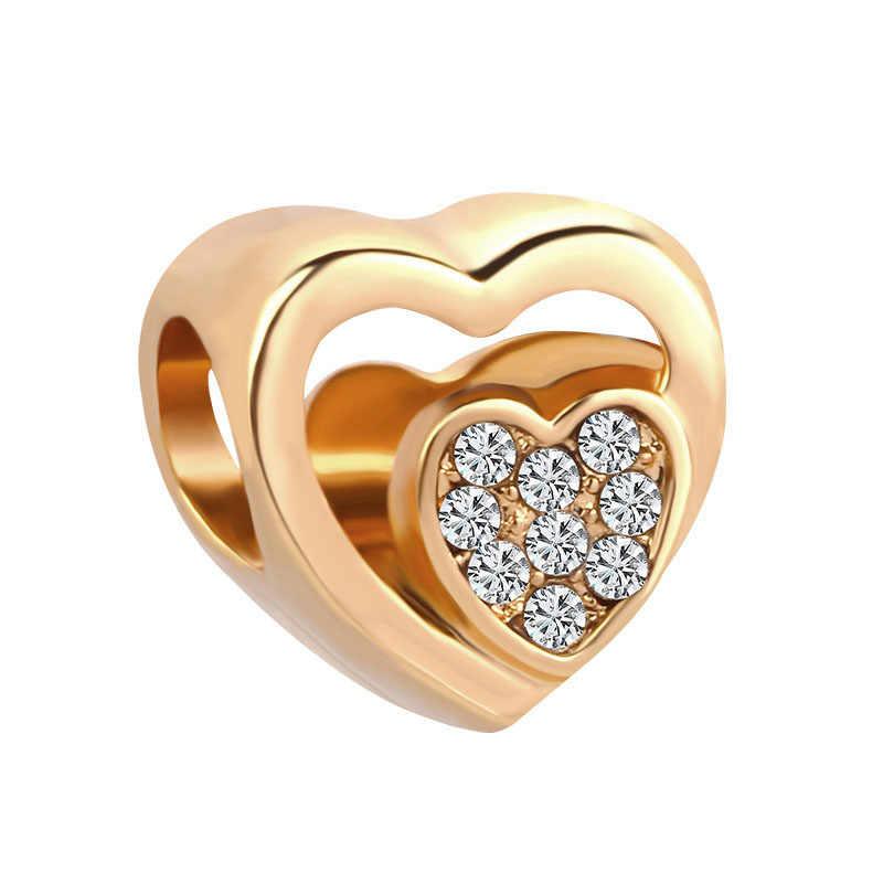 2019 nuevo 1pc envío gratis corazón de oro calado corazón mamá ventilador de amor diy cuenta Fit Pandora pulsera de encanto para las mujeres F066