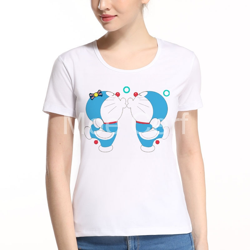 2018 Newest Japan Anime Women T-shirt Doraemon Kiss Lover Female Tee Summer Short Sleeve Funny kawaii Girl T Shirts L9-F-46
