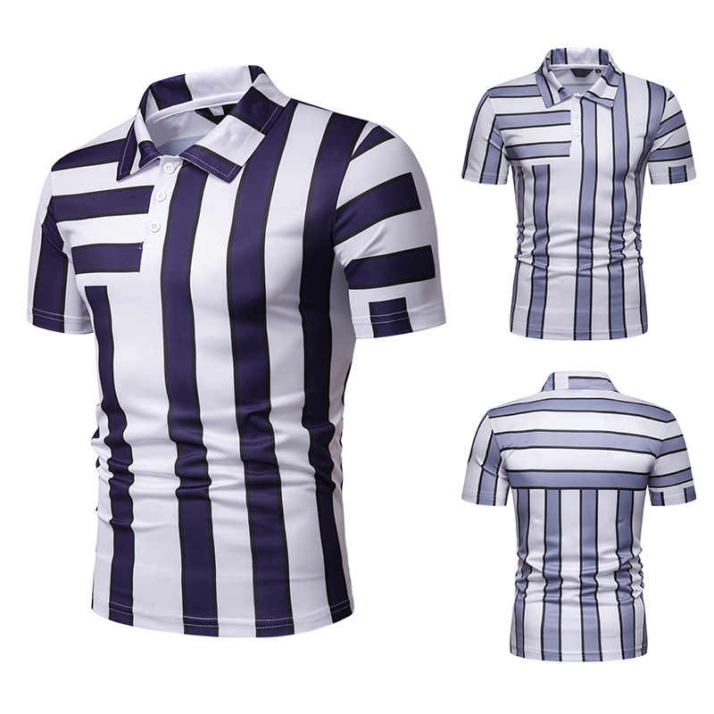 FuyBill New Summer Men's Short Sleeve Polo Men's Colour Stripe Slip Turn-collar Golf Clothing 2019 Breathable Sports Polo Shirt