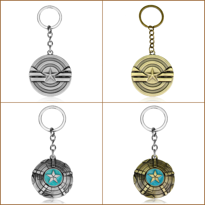 Hot sell Super Heroes Avengers Captain America Shield Metal Keychain Pendant Fashion Chaveiro Key Chain gift key holder for cars