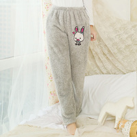 Autumn and winter female thicken fleece sleep pants plus size home casual cartoon patch lounge pants