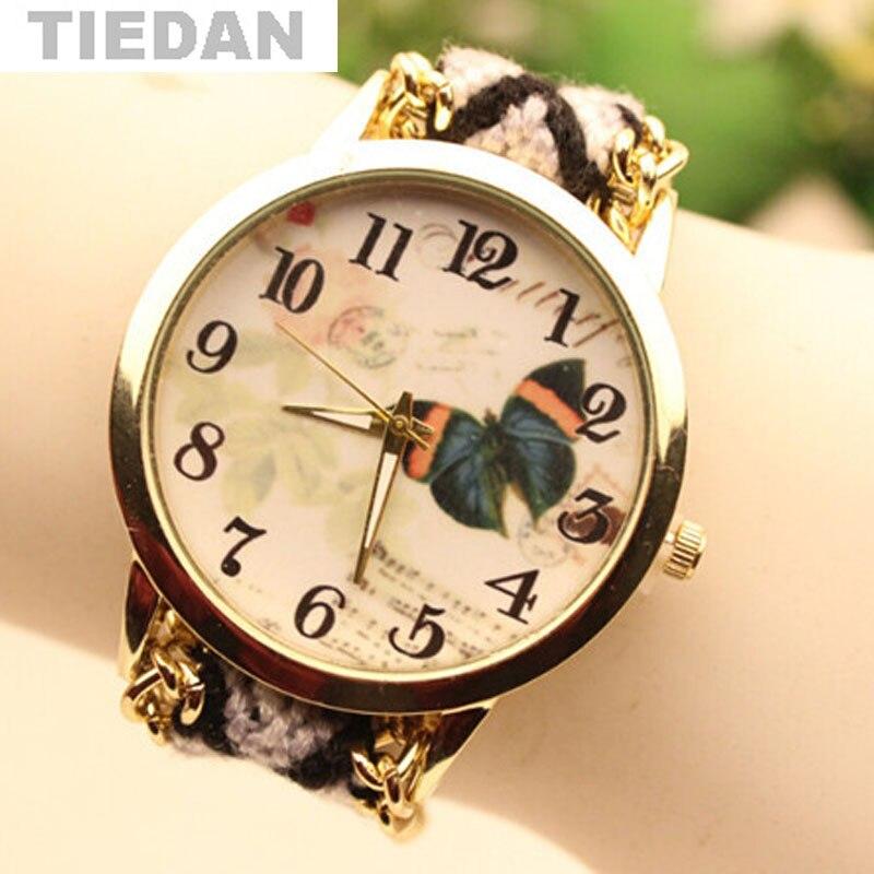 8767cea5e42 Marca TIEDAN Bonito Padrão de Borboleta Relógio de Pulso de Quartzo Relógios  Fashion   Casual relógios de Pulso Das Senhoras Das Mulheres Pulseira  Relógios